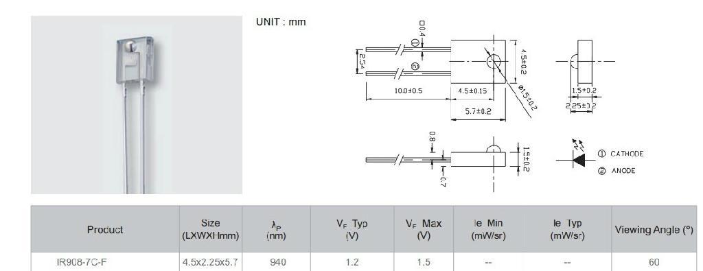 IR908-7C 台湾亿光电子IR908-7C-F正品红外线方形发射二极管 2