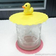创意时尚小黄鸭硅胶密封杯盖