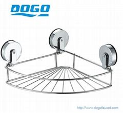 DOGO Metal suction bathroom acc. corner wire basket