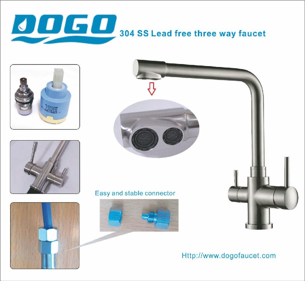 Stainless Steel Three Way Faucet Dispense Ro Water In