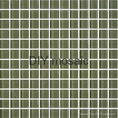 "Lime Green 1""X1"" Light Green Glass Mosaic Tile for Shower room Walling"