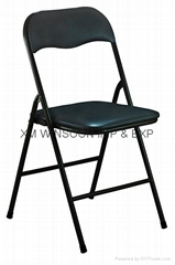 Metal Folding Chair With PVC Cushion-China-Trade-Living Room Furniture