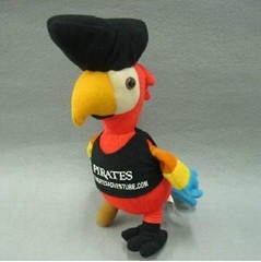 ".10"" Pirate Plush Toy Parrot With Black"
