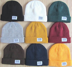 100% Acrylic rib knit beanie with custom woven label