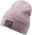 100% Acrylic cuffed beanie with custom woven label patchs 2