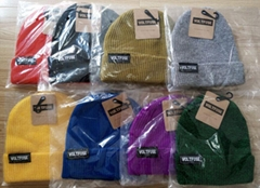 100% Acrylic waffle knit beanie with custom woven label patchs