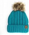 Warm soft thick cable knit beanie with