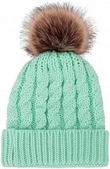 Women's Winter Soft Chunky Cable Knit Pom Pom Beanie Hats Skull Ski Cap