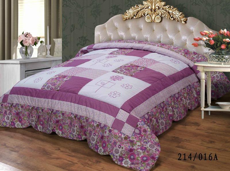 Fresh elegant patch-work appliqued bedspread comforter set 1