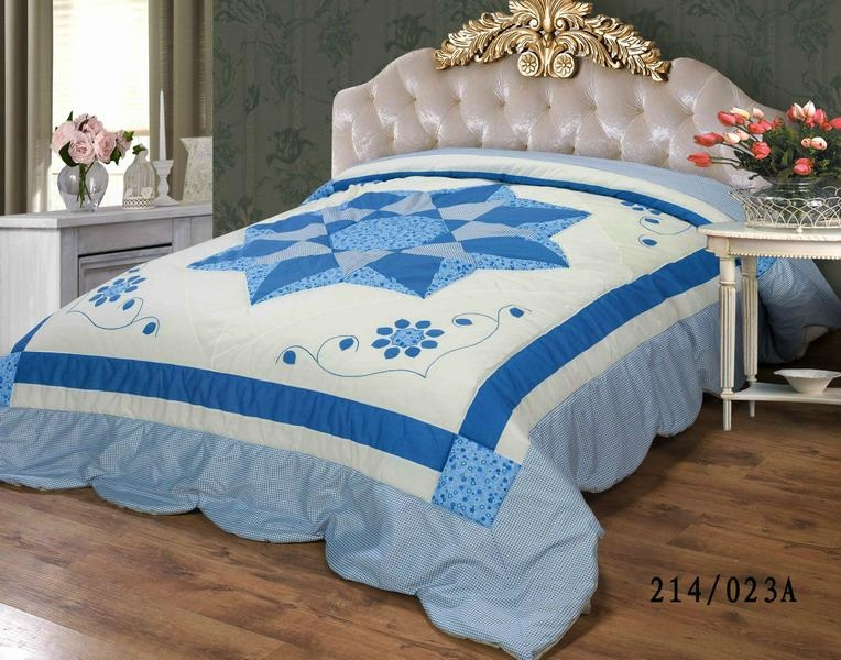 Blue Star applique patch-worked bedspread bed cover quilted comforter 1