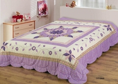 Padded patchwork appliqued comforter bed spread bed cover