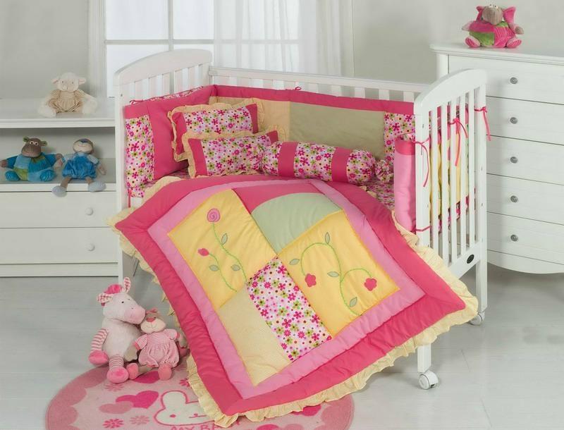 red pink girl's cot bed cover sheet pillow bolster cushion bumper skirt 1