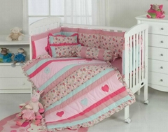 Pink girl baby cot quilt bumper sheet skirt pillow cushion bolster