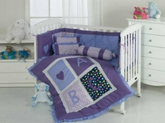 Purple letter heart elegant baby quilt bumper duvet sheet skirt cushion pillow