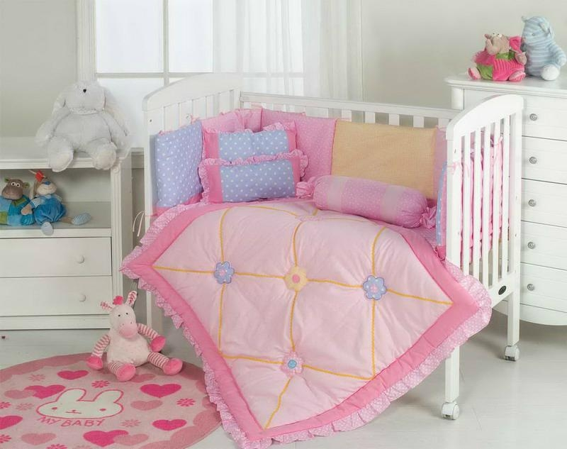 Simple hansome baby cot quilt set bumper cushion pillow sheet pink lilac 2