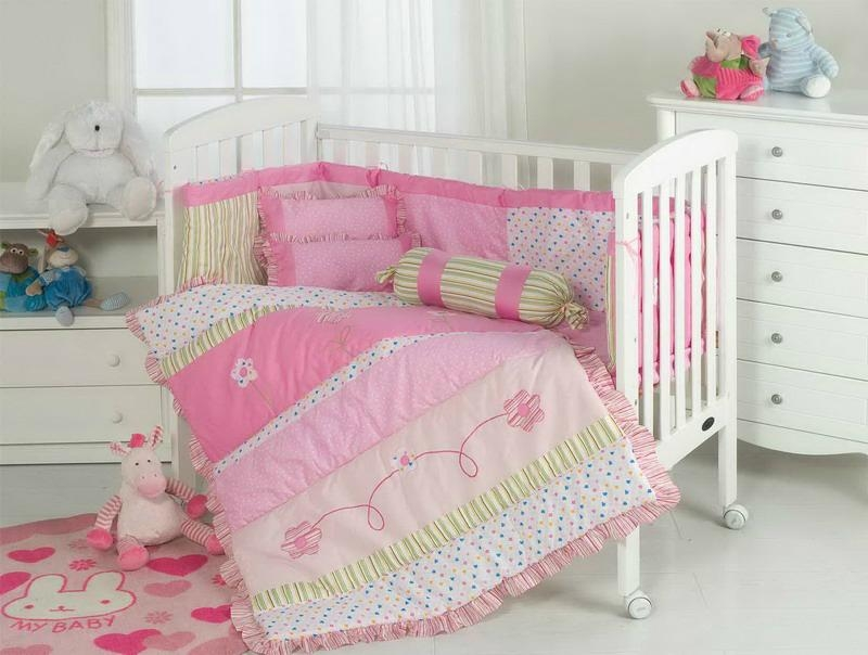 Baby girl's romantic flower cot bed bumper set quilt cover sheet skirt : baby cot quilt - Adamdwight.com