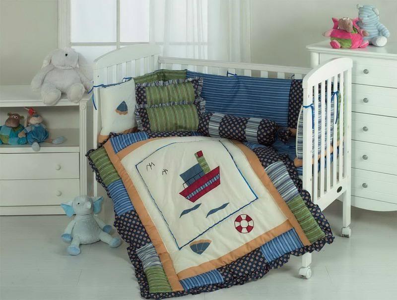 Baby Sea ship cot bed bumper quilt duvet sheet skirt pillow cushion   1