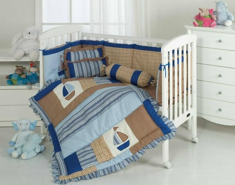 Baby boy's bed cover bumper set Cot quilt duvet  fitted sheet  bed skirt 1