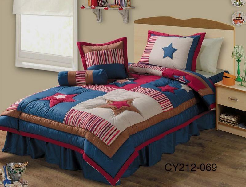 Kids boys starry bedspread bed cover comforter set 1