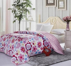 Comforter with filled padding Cotton shell bedspread Quilted bed cover