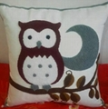 Embroidered Animal Owl cushion cover