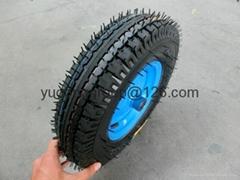 手推车充气轮子 4.00-8 16寸橡胶轮子