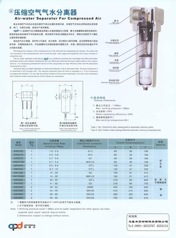 壓縮空氣氣水分離器