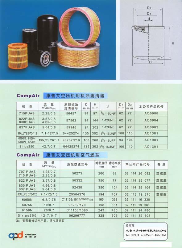 康普艾空压机用机油滤清器 空气滤芯 1