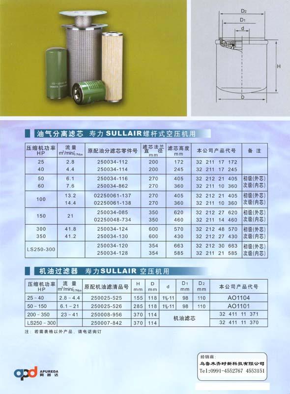 壽力螺杆空壓機用油氣分離濾芯 機油濾芯 1