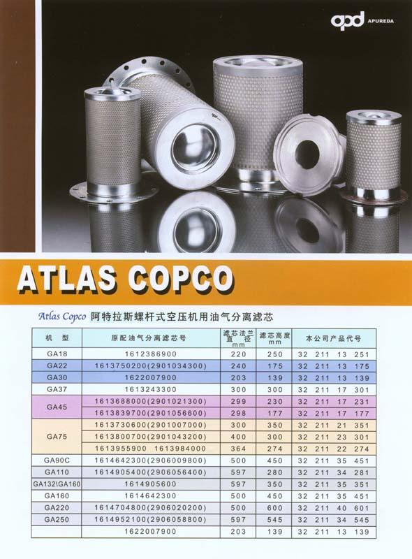 阿特拉斯螺杆式空压机用油气分离滤芯 1