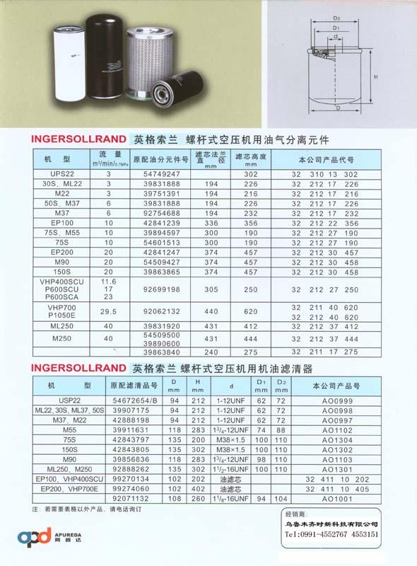 英格索兰螺杆空压机用油气分离元件 机油滤清器 1