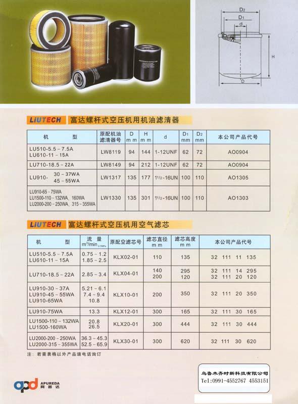 富達螺杆空壓機用機油濾清器 空氣濾芯 1