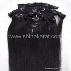 "Clip in Human Hair Extensions #01_jet black 7pcs 15""- 24"""