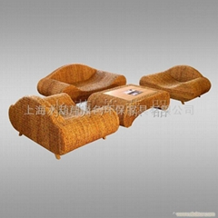 hyacinth-rattan-wooden sofa