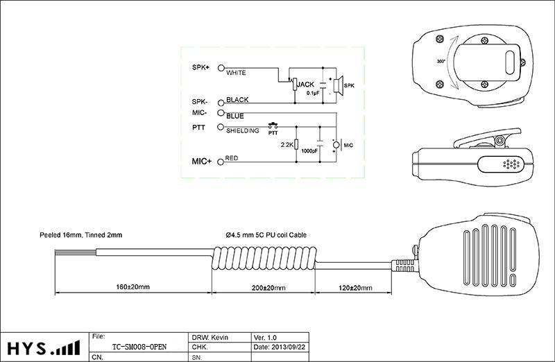 Portable Radio Speaker&Microphone TC-SM008 12