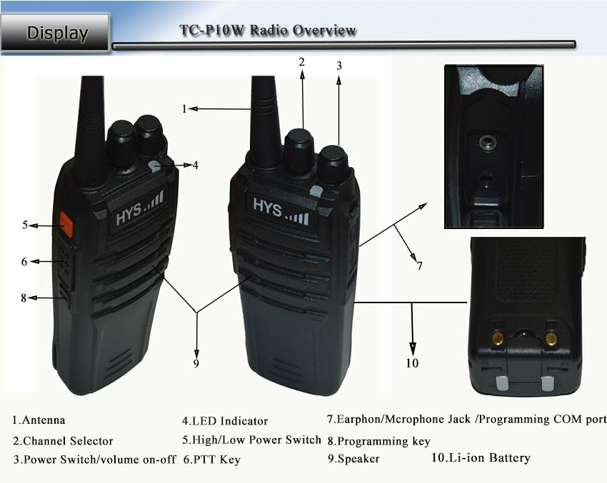 10W UHF or VHF  Portable Radio TC-P10W  10