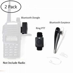 2 Pin Wireless Two Way Radio Earpiece Bluetooth Walkie Talkie Headset with PTT