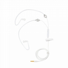 Covert Acoustic Air Tube Headphone with Microphone White