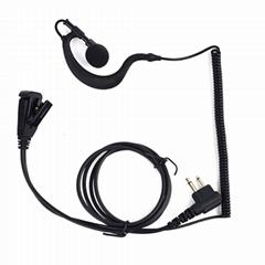 2-Way Radio Earpiece Soft G Shape 2 Pin Walkie Talkie Headset