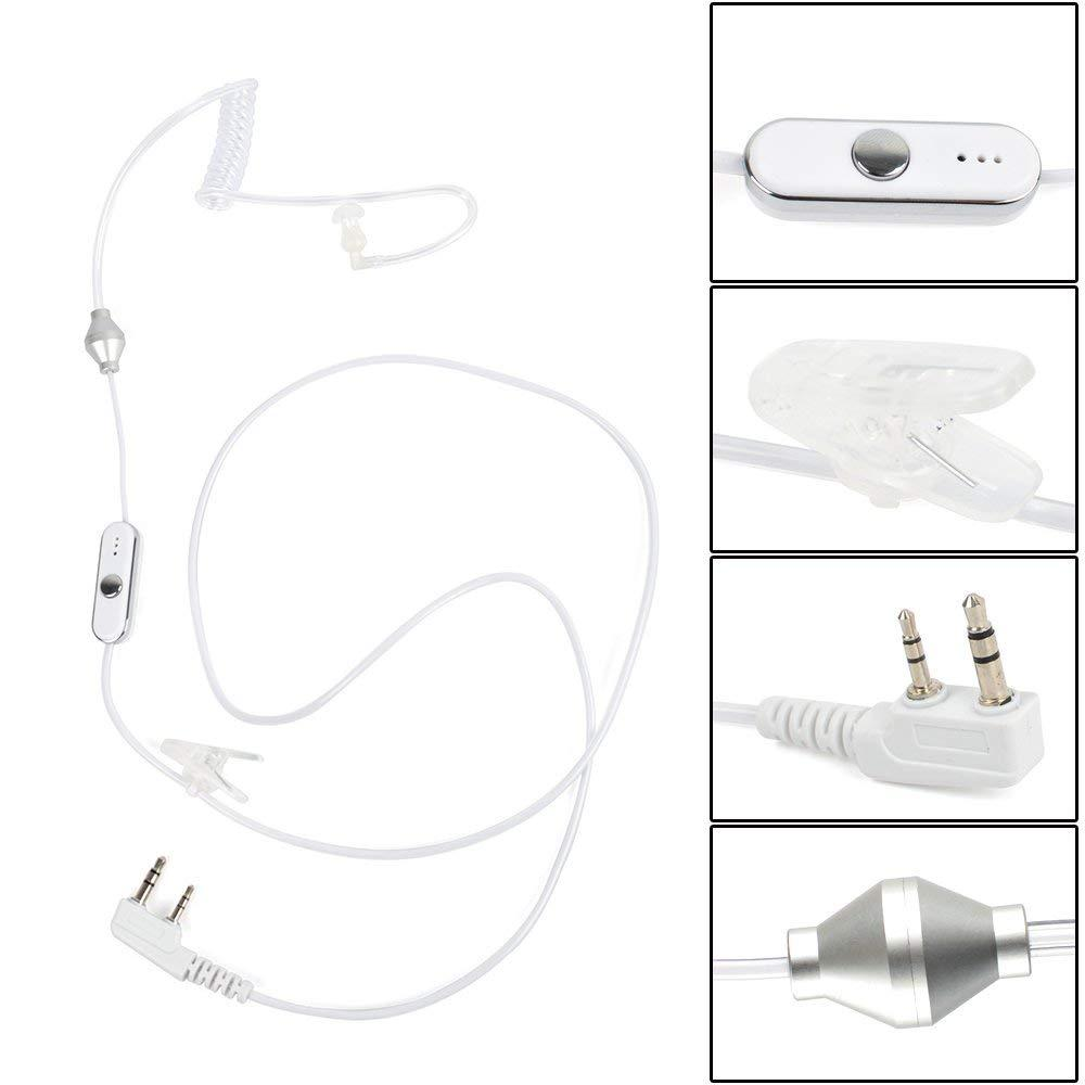 2 Pin Covert Air Acoustic Tube Headset Earpiece Earbud With PTT MIC 2