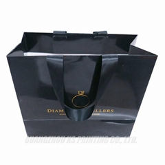 Paper shopping/gift bags with ribbons handles customized print gloss finish