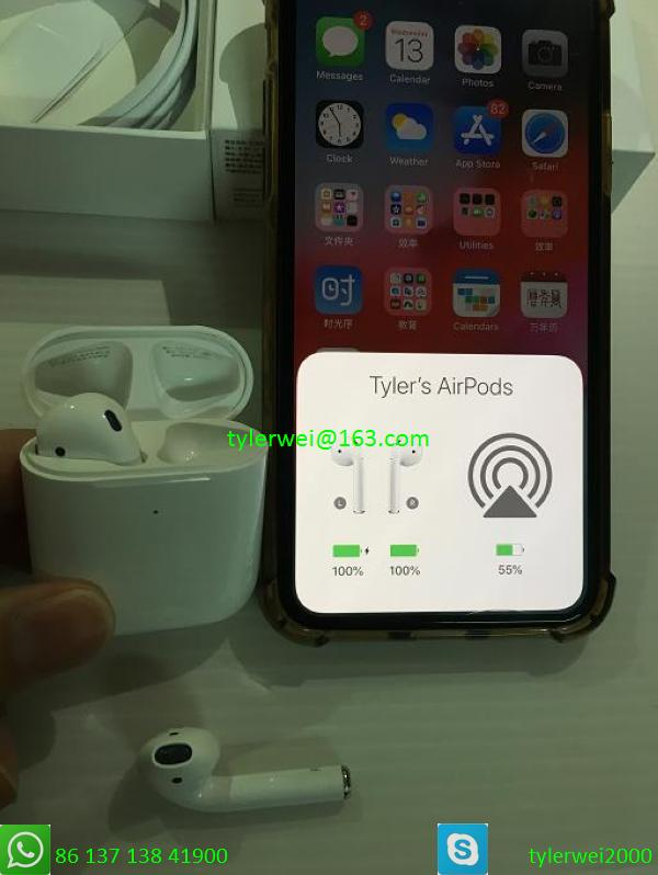Top best quality airpods2 with wireless charging case gps
