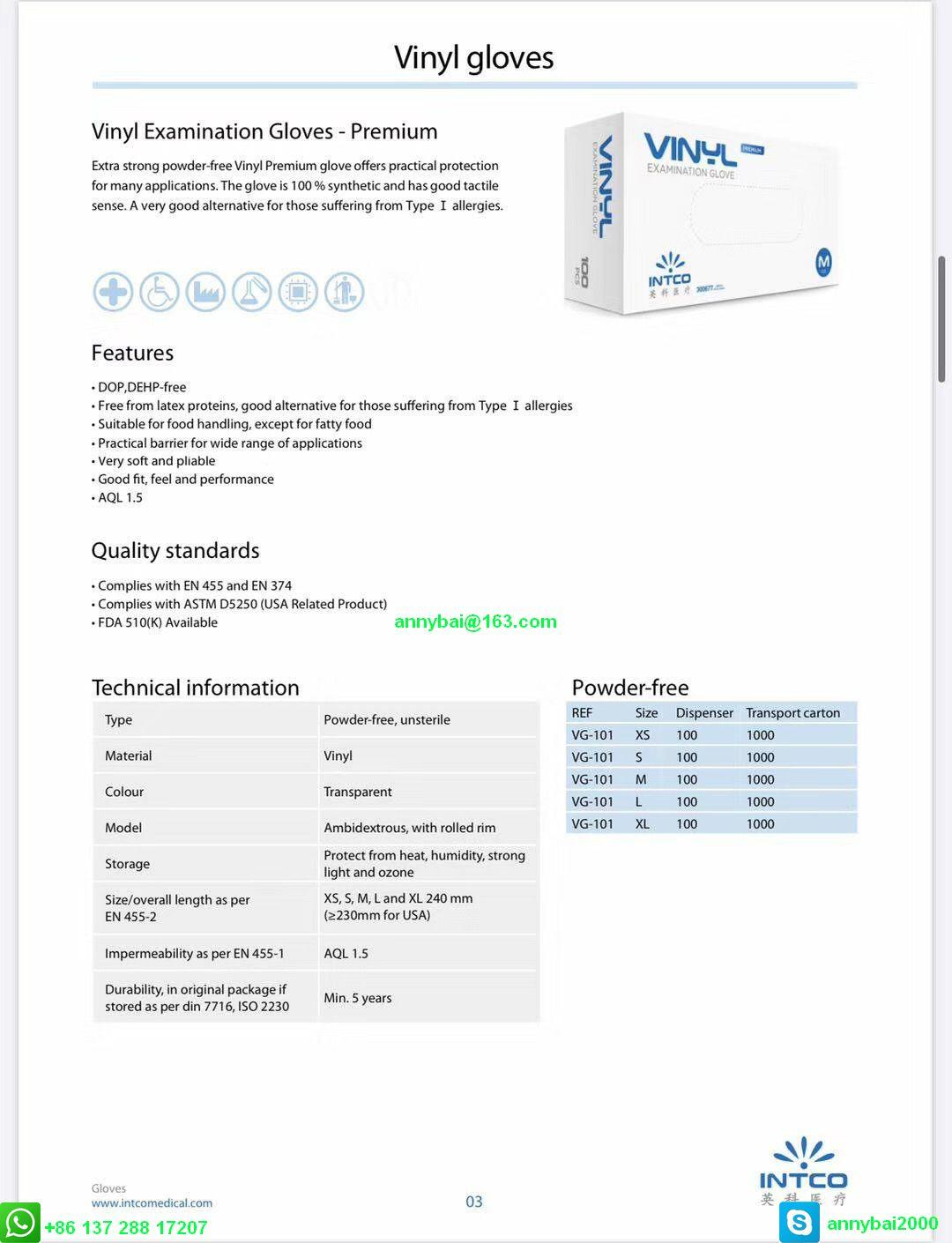 Disposable VINYL Examination Gloves against Coronavirus with CE  11