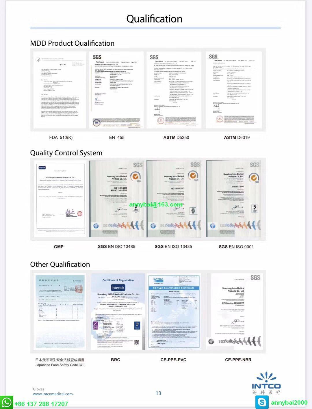 Disposable VINYL Examination Gloves against Coronavirus with CE  12