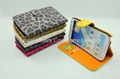 leopard print Leather Case cover for Samsung Galaxy Note II N7100 wallet case