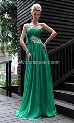 elegant floor length one shoulder appliqued prom dress green