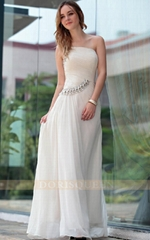 sexy floor length white one shoulder evening dresses