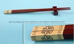 红檀镀金筷