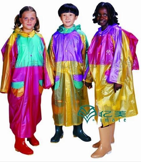 一來高彈拼色儿童背包億美雨衣 2