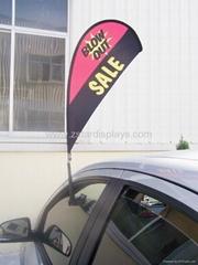 Teardrop car window flag